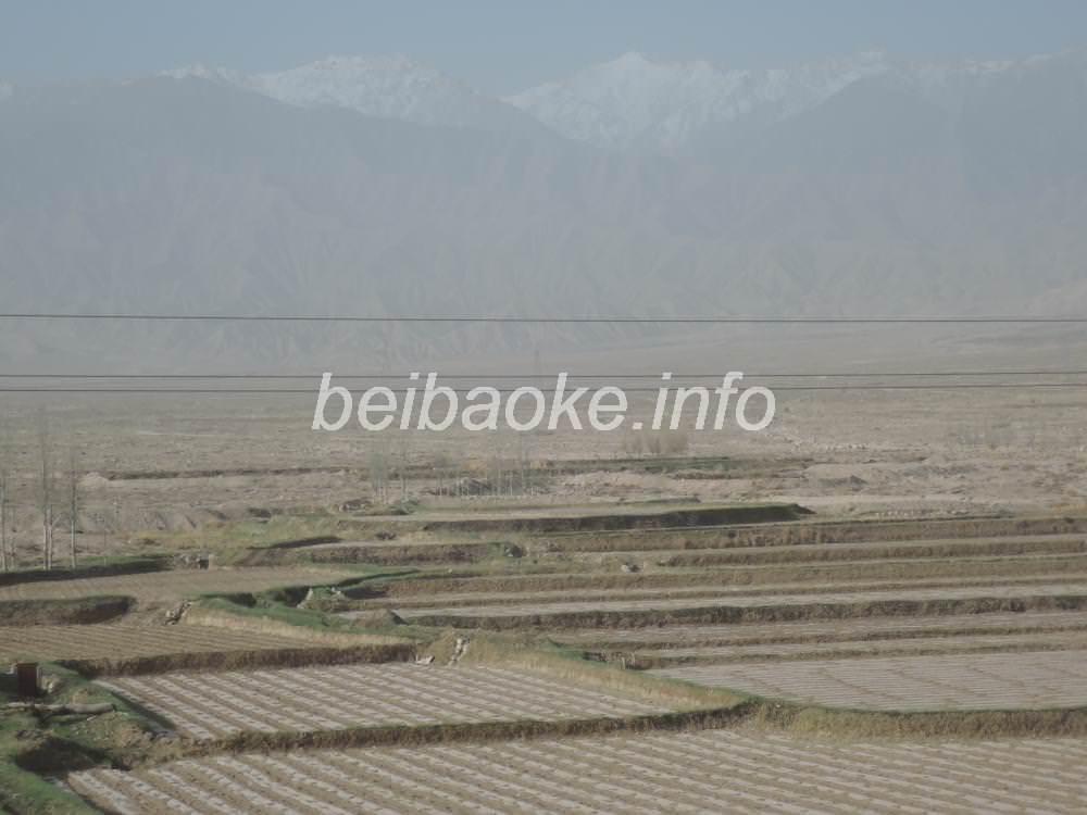 黄砂と祁連山脈