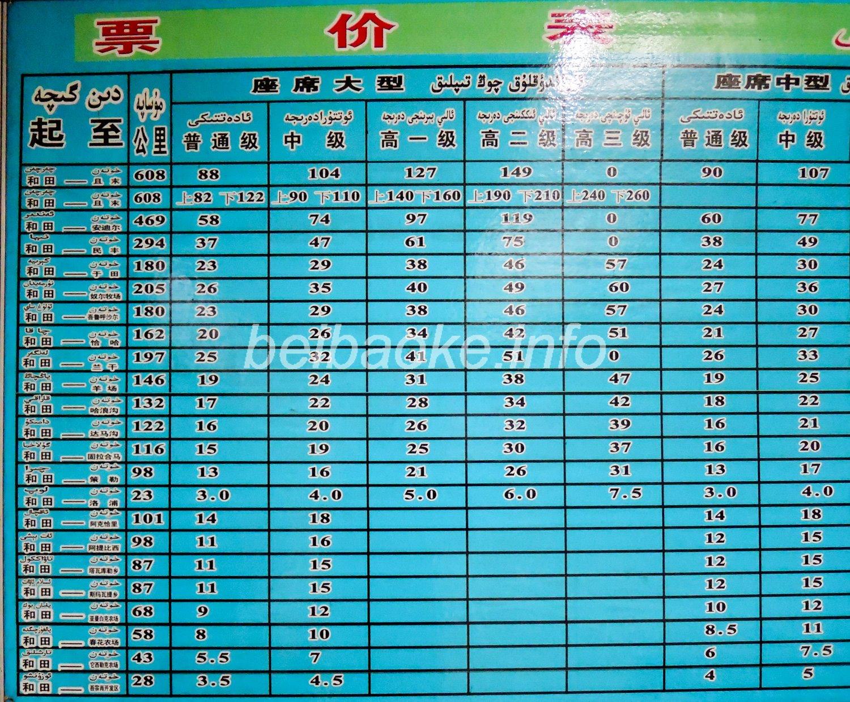 ホータン東郊客運站の時刻表