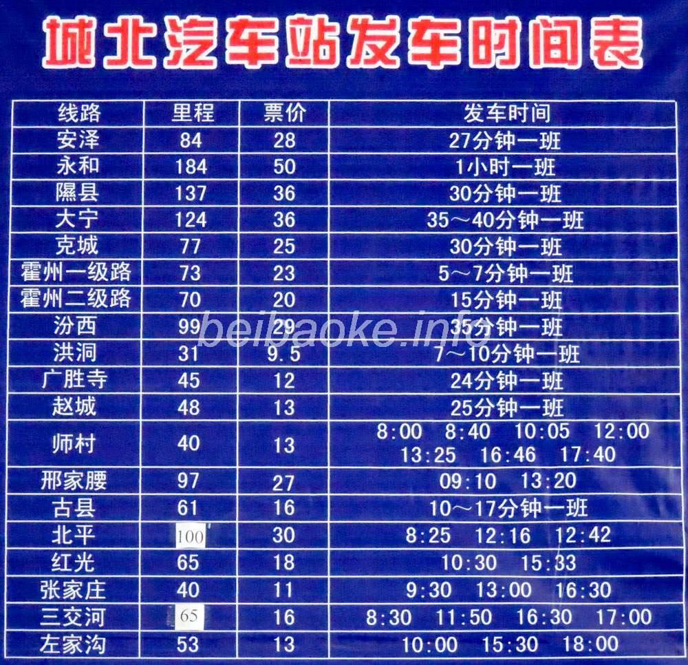 城北公交站時刻表